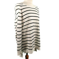 Hush Size S 10 12 White Black Long Sleeve Linen Blend Lightweight Thin Jumper
