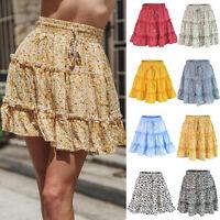 Women Floral Short Skirts High Waist Pleated Beach Dress Ruffled Summer Skirt
