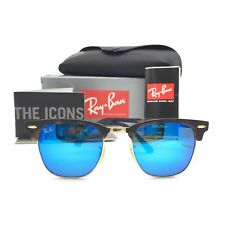 New Ray-Ban RB3016 1145/17 Tortoise Clubmaster Sunglasses Blue Mirror Lens 49mm