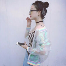 Iridescent Transparent Women Jacket Holographic Coat Laser Rainbow Clear Bomber