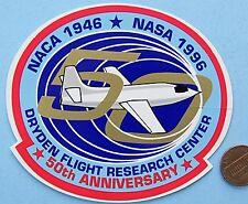NASA STICKER vtg 50th Anniversary DRYDEN FLIGHT Research Ctr NACA 1946 NASA 1996