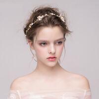 Wedding Bridal Pearl Flower Hair Bands Gold Leaf Rhinestone Headband Tiara