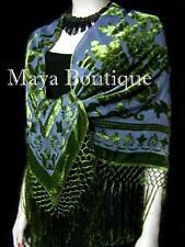 Piano Shawl Wrap Scarf Silk Burnout Velvet Olive & Gray Maya Boutique