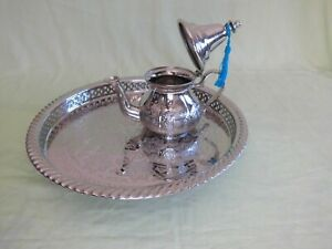 """Set of Silver Plated Moroccan Teapot 420 ml 4 Tea Cups and its matching tray 12"""""""