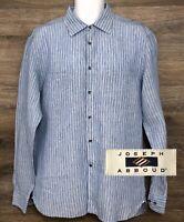 Joseph Abboud Men's 100% Linen Blue Striped Long Sleeve Button Front Shirt Large
