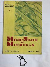 1935 RARE MSU Spartans @ Michigan SID WAGNER Original Football Program State VG
