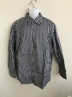 EUC Ermenegildo Zegna Blue White Striped Cotton Dress Shirt XL
