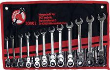 Jeu de 12 clés plates mixtes à cliquet articulé 12 pans de 8 à 19 mm avec étui
