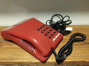 BT Viscount Blood Red Burnt Orange Push Button Telephone Phone Vintage 1980s