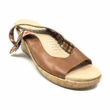 Women's Crocs A-Leigh Slingback Wedge Sandals Shoes Size 7 Brown Leather T13