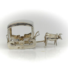 Portuguese .833 Silver Miniature Oxen with Sleigh / Carriage, c1900. Hallmarked.