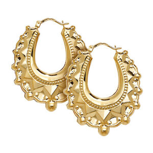 9ct Yellow Gold Large Fancy Design Ladies Creoles Earrings NEW 37x31mm