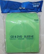 100 Light Green Color CD DVD Paper Sleeve Envelopes