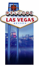VEGAS SIGN (POKER NIGHT) LIFESIZE CARDBOARD CUTOUT casino theme prop decoration