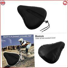 Large Gel Exercise Bike Seat Cushion Bicycle Seat Saddle Waterproof Black Cover