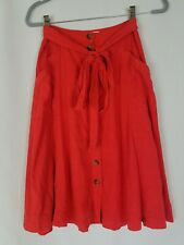 Anthropologie Maeve women 0 Riviera a-line linen blend skirt front buttons lined