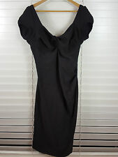 CHARLIE BROWN sz 12 womens Black Gathered Dress [#1969]