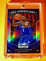 Zion Williamson BLUE PANINI PRIZM REFRACTOR ROOKIE DRAFT PICKS ALL AMERICANS RC!