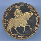 100 ECU 1989 Spain Gold F. N.M. T.Carlos V @ With Case And Certificate @