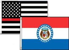 2x3 USA Fire Thin Red Line Missouri State 2 Pack Flag Wholesale Set Combo 2'x3'