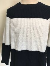 J.CREW SUMMER 2015 LINEN BLEND STRIPED SWEATER ~ New With Tags ~ Navy/White ~ XL
