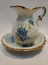 Vintage Porcelain Pitcher And Basin Blue And White Floral,with gold glided trim