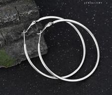 """9ct 9K White """"Gold Filled"""" Ladies Girls Plain Hoop Earrings. 50mm Gift"""