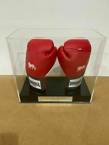 Boxing Display Case DOUBLE GLOVE with Personalised Etching on Silver Plaque