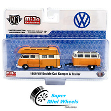 M2 Machines 1959 VW Double Cab Camperl & Trailer Orange Mijo 1:64
