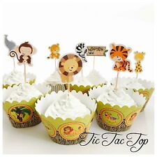 12x Jungle Animal Safari Zoo Cupcake Toppers + 12 Wrappers. Party Supplies Lion