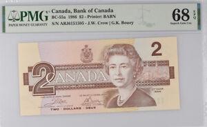 Canada 2 Dollars 1986 P 94 Crow/Bouey Superb Gem UNC PMG 68 EPQ