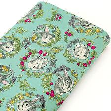 Cotton Fabric FQ - Rabbit Bunny Cony Hare Flower Pet Animal Print Dress Quilt S4