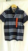 BNWT Tommy Hilfiger Mens Stripe Polo blue Men's Polo Shirt size Medium