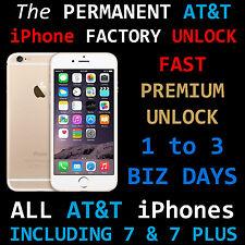 PREMIUM 100% FACTORY UNLOCK FAST AT&T IPHONE 7  SE 6S 6 Plus 6+ 5 4 ATT Contract