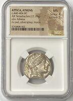 Attica Athens Owl 440-404 BC Silver Tetradrachm NGC Mint State (Greek Owl) PQ+