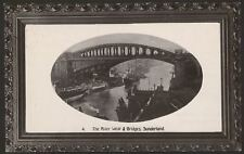 Sunderland. The River Wear & Bridges. 1909 Sunderland Postmark. Bridge Series PC