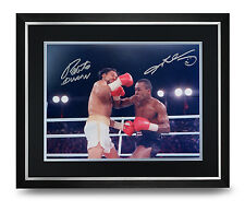 Roberto Duran & Sugar Ray Leonard Signed Photo Large Framed Display Autograph