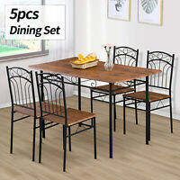 5 Piece Metal Dining Table Set 4 Chairs Wood Top Kitchen Dining Room Furniture