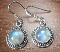 Round Moonstone with Silver Dot Accents 925 Sterling Silver Dangle Earrings