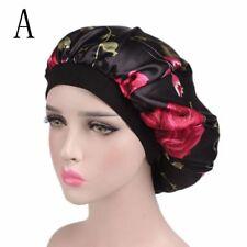 Women Wide Band Satin Bonnet Comfortable Ladies Night Sleep Hat Hair Cap Turban a