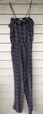 SEA New York Jumpsuit Size 6 Blue Bird Print Silk Spaghetti Straps