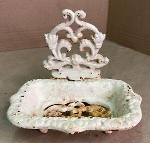 Vintage Cast Iron Soap Dish White Shabby Farmhouse Kitchen Bath Decor Original