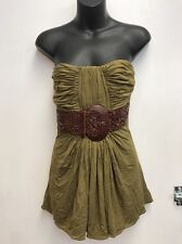 NWT 100% Auth SKY BRAND Army Green Brown Leather Belt Strapless Top M!