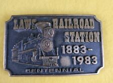 Vintage Laws Railroad Station 1883 1983 Centennial Solid Brass Belt Buckle