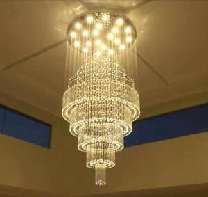 Crystal LED Chandelier Rain Drop Ceiling Light Lobby Pendant Lamp Fixtures