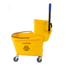 34 Quart Commercial Yellow Mop Bucket Side Press Wringer Cleaning Tool w/ Wheels