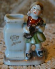 """PRECIOUS VINTAGE MINI VASE WITH MUSICAL GIRL~GIRL & GUITAR~3"""" TALL~MADE IN JAPAN"""