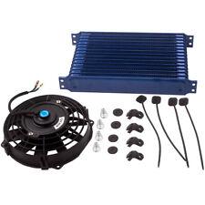 "15 ROW AN10 Universal Aluminum Engine Oil Cooler + 7"" Blue Cooling Fan new"