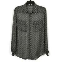Equipment Femme Houndstooth Silk Chiffon Button Front Blouse Women's Size Medium
