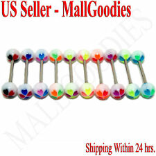 W042 Acrylic Tongue Rings Barbells Clover Shape LOT 10
